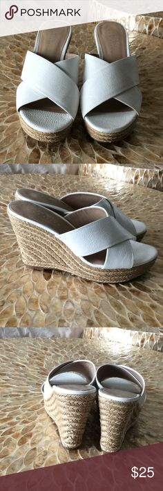 "Lord and Taylor wedges White mule espadrille genuine leather upper. No damage never worn EUC. True to size imo. 4"" heel with 1"" platform Lord & Taylor Shoes Espadrilles"