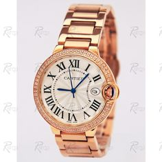 cartier diamond watches for women | ... Watches / Cartier Ballon Bleu Rose Gold Diamond Bezel Ladies Watch