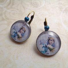 """Boucles d'oreille couleur bronze """"en famille"""", cabochon bijoux vintage, élixir, parfum"""