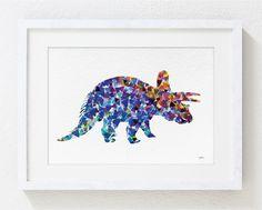 Blue Dinosaur Print - Watercolor Print - 5x7 Archival Print - Dinosaur Art Print - Geometric Art, Wall Decor Art Home Decor Housewares by ElfShoppe on Etsy https://www.etsy.com/listing/152868364/blue-dinosaur-print-watercolor-print-5x7