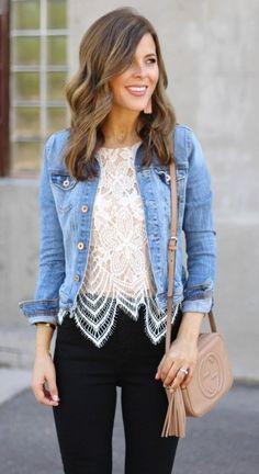 #winter #fashion //  Denim Jacket // White Lace Top // Black Skinny Ejans // Camel Leather Shoulder Bag