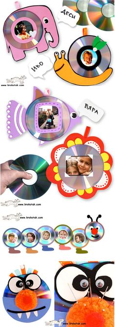 Kids' Photo Frames – FROM OLD CDs good ideas for any of those parent gifts we are supposed to get the kids to make Más Recycled Cds, Recycled Crafts, Kids Crafts, Diy And Crafts, Old Cd Crafts, Frog Crafts, Ocean Crafts, Photo Frames For Kids, Picture Frames