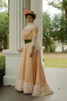 https://flic.kr/p/NTS8Wk | Turn-of-the-century Historical Costume | Mood Fabrics Peach silk Taffeta | Butterick Making History Patterns