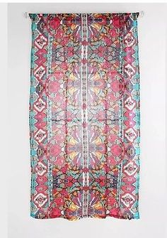 """1 One Urban Outfitters Magical Thinking Painted Eye Curtain Panel 96"""" Multicolor"""