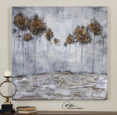 Uttermost Iced Trees. Frameless, hand painted artwork on canvas. The canvas has been stretched and attached to wooden stretching bars.