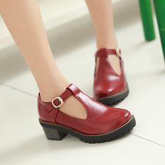 Casual T Straps Thick Heels Women Shoes Plus Size