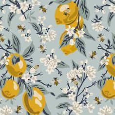 Bees And Lemons - Blue - Large custom wallpaper by fernlesliestudio for sale on Spoonflower Wallpaper Backgrounds, Iphone Wallpaper, Wallpapers, Wallpaper Ideas, Fabric Patterns, Print Patterns, Bee Fabric, Fabric Shop, Vintage Bee