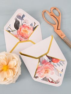 Print our floral designs for free and easily make your own envelope liners!