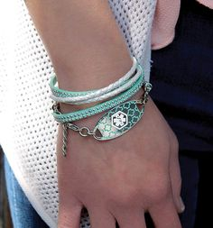 Corey Medical ID Bracelet - Dual-strand, wrap-style, ivory and teal suede medical ID bracelet with silver accents and a custom engravable Turquoise Silhouette Medical ID Tag. This wrap comes with an adjustable chain so you can wear it just the way you like! (From $49.95) | Lauren's Hope