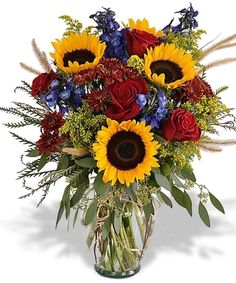 Celebration Bouquet What Can I Say?? - fall colored mums, sunflowers, roses, blue delph
