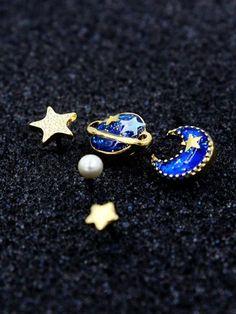 Acessórios cósmicos   brincos estrelas e planetas