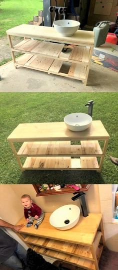 Fresh Recycling Ideas for Used Wooden Pallet Projects Pallet Bed Frames, Pallet Boxes, Pallet Shelves, Pallet Ideas, Pallet Vanity, Pallet Bathroom, Blue Pallets, Recycled Pallets, Pallet Furniture Sofa