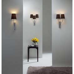Home Accessories, The White Wall Design Idea Also Wall Lamp Style Innovation Also Smallwooden Table Then Flower Design Idea: The Nice Design Of Contemporary Track Lighting With Great And Best Style Contemporary Track Lighting, Astro Lighting, Online Lighting Stores, White Walls, Polished Chrome, Wall Design, Home Accessories, Sconces, Cool Designs