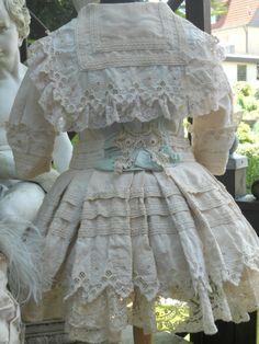 ~~~ Marvelous French Antique Pique Coat-Dress with Bonnet ~~~