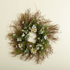 18 inch Twig Wreath with Summer Daiseys