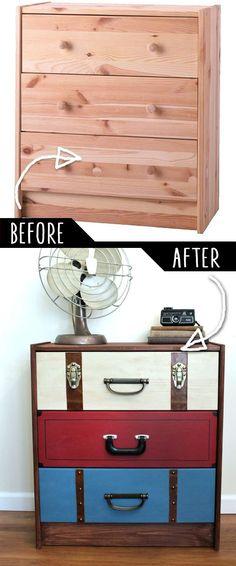 IKEA Hack: Cómoda básica convertida en vintage con tiradores haciendo de maletas