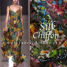Midnight Garden. Natural Silk Chiffon fabricAsians