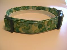 Handmade Cotton Dog Collar - Green Watercolor by WalkingTheDog on Etsy