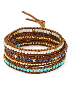 "Chan Luu's festival-ready mix of turquoise and leather is all you need to throw an epic, boho-themed arm party. | Imported | 32""L with 2"" extension 