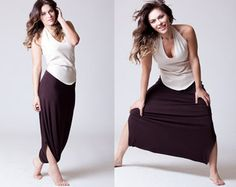The slightly firmer nature of this specific fabric allows these pants to flow and sustain their flexibility while maintaining a touch of nobility. As part of the Michella skirt pants collection, these pants can easily shift from formal to casual depending on what they are worn with, so feel free to get creative... Also available in black.  Both the double layered waist band and the rest of the pants are made of the same cotton polyester knit which has a denim look to it. For the matching top…