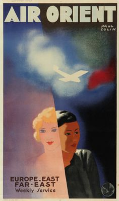 Poster by Paul Colin, 1930, Air Orient, Air France.