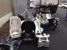More of the hundreds of car seats collected by Old Car Seat, New Life; Baby Center, New Life, Old Cars, Baby Car Seats, Recycling, Canning, This Or That Questions, Image, Repurpose