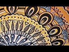 Acrylic Painting - Rising Sun Doodle - speed painting - #lovesummerart