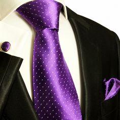 Paul Malone Silk Tie Set - Purple and White Polka Dots (806CH)