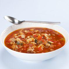 Hvid bønnesuppe med tomat, fennikel, squash og flæsk