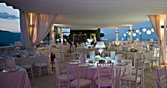 Wedding reception on the panoramic roof terrace at Hotel Imperiale - Taormina - Italy www.imperialetaormina.it