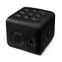 Sound Lounge | ThinkGeek :: PLUSH OTTOMAN WITH BUILT-IN SPEAKERS  This ottoman has built-in speakers and a subwoofer. Connects to your music via Bluetooth. Make the most out of all your space.