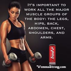 It's important to work all the major muscle groups of the body: the legs, hips, back, abdomen, chest, shoulders, and arms. VemmaStrong.com