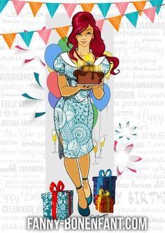 Carte anniversaire multilingue illustrée