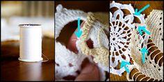 Vários paninhos de crochê  juntos apenas por linha formam essa peça maravilhosa!!