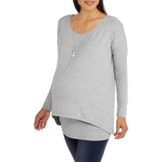 Faded Glory Maternity Long Sleeve Knit Faux 2fer, Size: 2XL, Gray