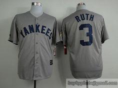 6131e2844f9 MLB New York Yankees  3 Babe Ruth Grey Throwback Vintage Jersey Babe Ruth