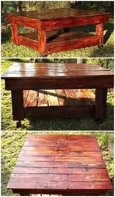Cute Pallet Coffee Table #livingroom #pallettable #recyclingwoodpallets I made a coffee table, used rosewood, teak and oak stain to obtain the color then varnished it with eggshell varnish. ...