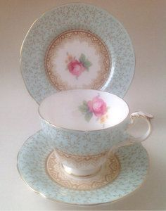 Paragon English Vintage China Tea Set Tea Cup Trio Duck blue Pink Roses | eBay