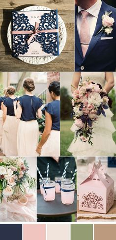 elegant navy blue and pink garden wedding color ideas