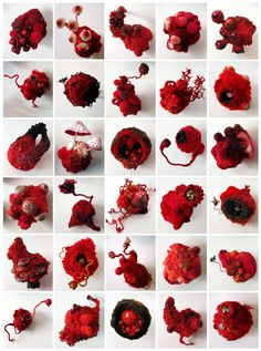 """Amy Gross' sculpture """"Red Collection"""" mixed media, fiber, paint, beads 30 objects x x each Photo courtesy of the artist Textile Fiber Art, Textile Artists, Growth And Decay, Bio Art, Fabric Journals, Fabric Manipulation, Natural Forms, Soft Sculpture, Fabric Art"""