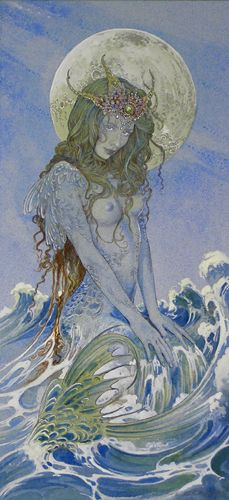 ed org blue-sea-siren fairy watercolor original art painting fantasy i like the details, color, intricate lines and swirls, her figure, the moon and the waves and the sky. magical looking. Fantasy Creatures, Mythical Creatures, Sea Creatures, Mermaid Fairy, Mermaid Tale, Sea Siren, Drawn Art, Mermaids And Mermen, Orisha