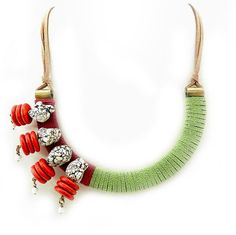 Modern Statement Necklace Bib With Gemstones Unique Ethnic Tribal Jewelry - Red and Lime Green Bib Necklace - African Style Jewelry