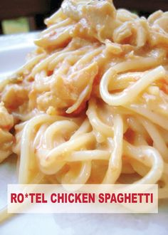Whoa. Chicken and Spaghetti mix in the most delicious way possible with this easy dinner recipe! Make RO*TEL Chicken Spaghetti tonight!