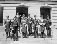 June 5, 1912: A delegation from SMS Moltke including Admiral Hubert von Reuber-Paschwitz pose with Rear Admiral Aaron Ward in front of the State, War and Navy building in Washington, D.C