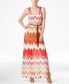 Sanctuary Chevron-Print Belted Maxi Dress