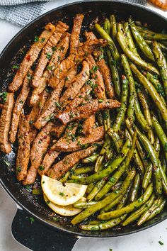 Garlic Butter Steak and Lemon Green Beans Skillet – So addicting! The flavor combination of this quick and easy one-pan dinner is spot on! Steak and green beans are cooked in one skillet and … Steak And Green Beans, Lemon Green Beans, Shrimp And Green Beans, Black Beans, Steak And Beans Recipe, Paleo Green Beans, Steak And Rice, Chicken Green Beans, Steak And Shrimp