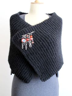 Knitting Hand Knitted Capelet Neckwarmer Black by crochetbutterfly, $57.00