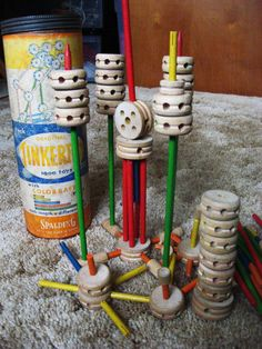 There's my tinker toys. This is what Tinker Toys is supposed to look like. Forget all the plastic parts. I have the set from my childhood. My Childhood Memories, Childhood Toys, Great Memories, 1970s Childhood, School Memories, Family Memories, Tinker Toys, Retro Toys, 1980s Toys