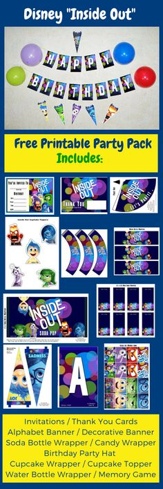 Free Inside Out Printable Party Decorations The Free Inside Out Printable Party Pack includes Invitations Thank You Cards AlphabetBanner Decorative Banner Soda Bottle Wrapper Water Bottle Wrapper Birthday Party Hat Cupcake Wrapper Cupcake Topper Mini Candy Wrapper Memory Game. (Click on the image download}