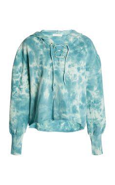 Bevan Cotton Hooded Sweatshirt by LoveShackFancy Tie Dyed, Casual Looks, Hooded Sweatshirts, Hoods, Sweatpants, Sleeves, Cotton, Fashion Design, Outfits